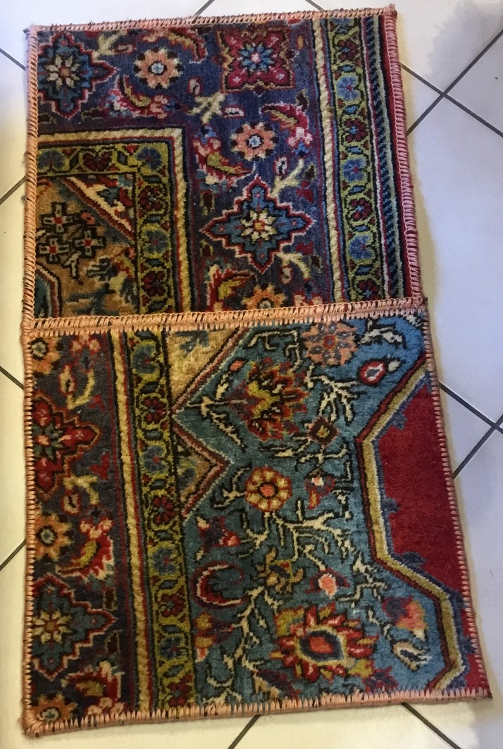 Persian Carpet Patchwork Wool Vintage 89x48 Cm