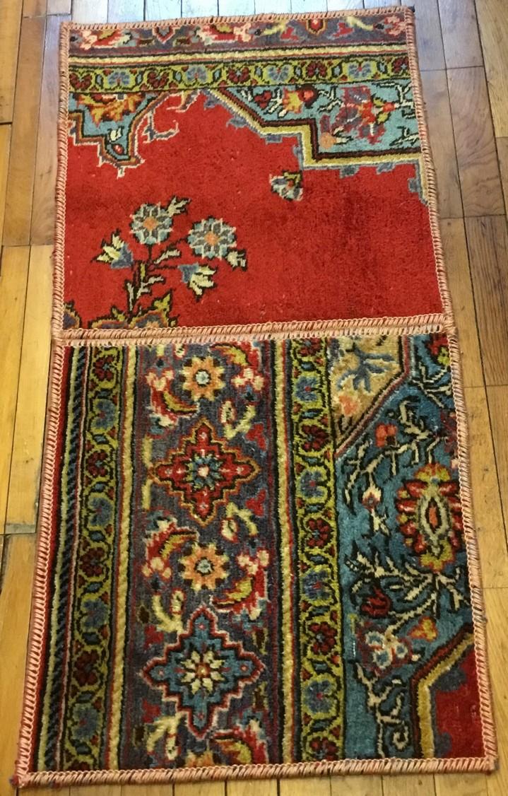 Persian Carpet Patchwork Wool Vintage 105x50 Cm